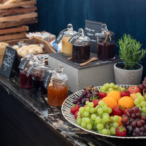 Strandhotel Ahlbeck breakfast jams and fresh fruit